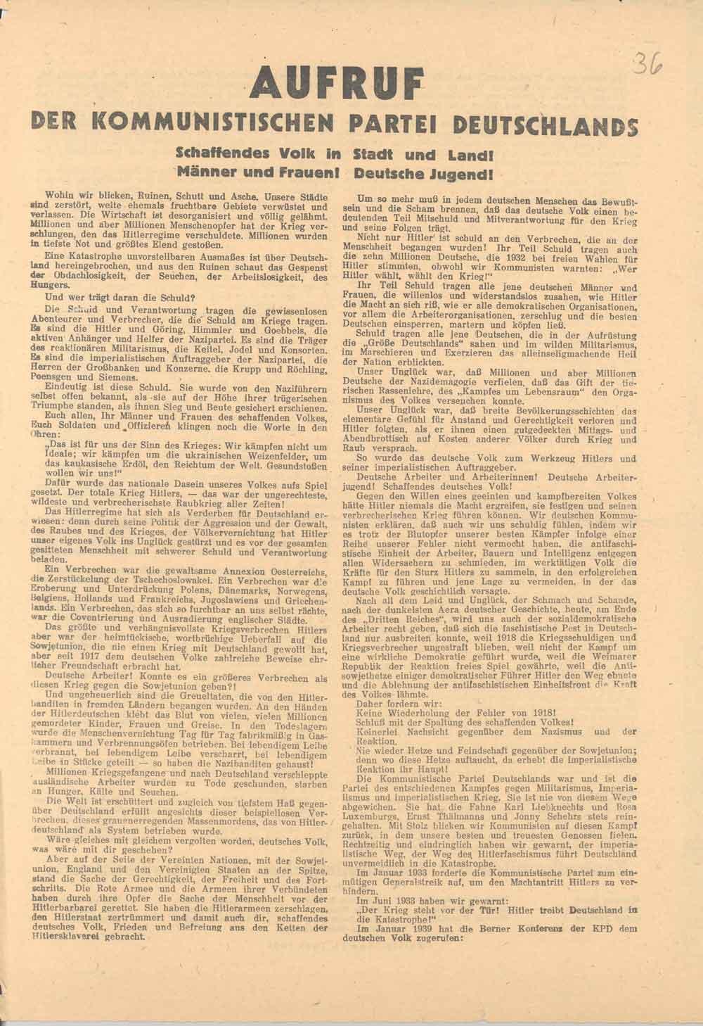 Zusammenfassung Aufruf Des Zentralkomitees Der Kommunistischen