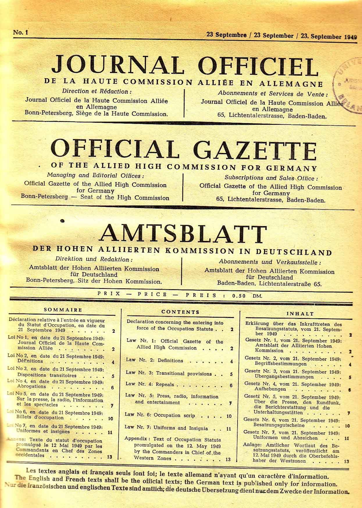 Besatzungsstatut Deutschland Endet
