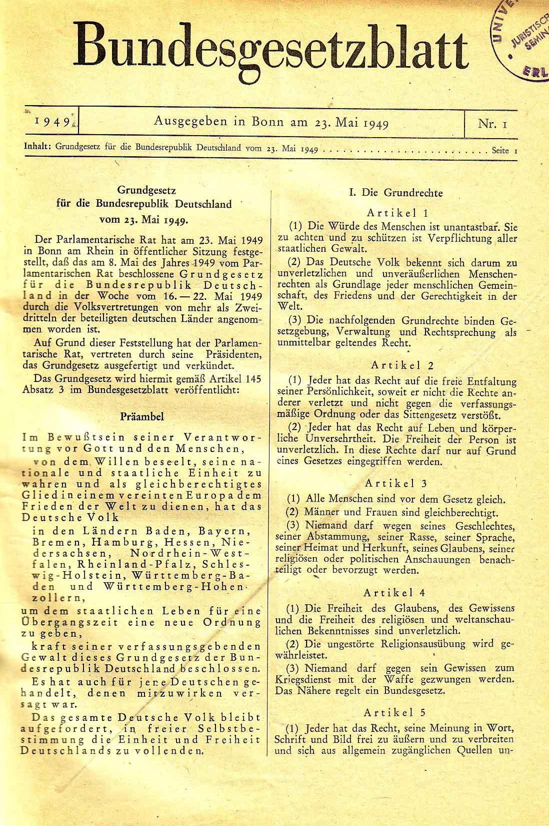 Zusammenfassung Das Grundgesetz für die Bundesrepublik Deutschland ...