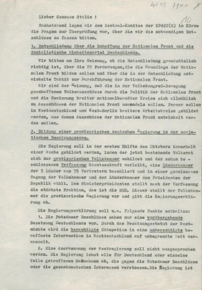 Einführung Vorbereitung zur Gründung der DDR: Schreiben der SED an ...