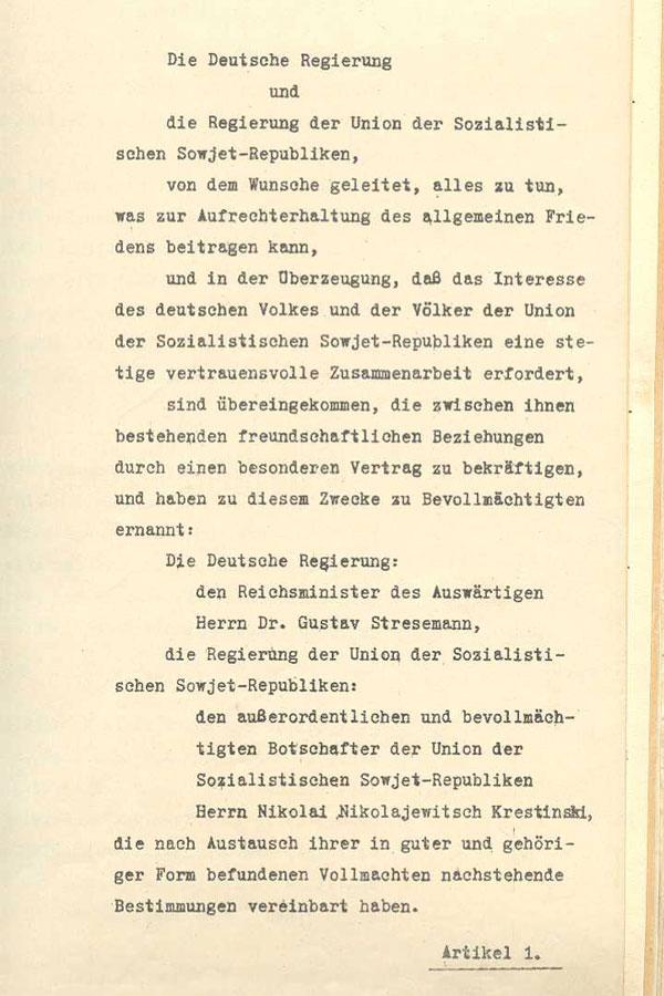 Zusammenfassung Freundschaftsvertrag zwischen Deutschland und der ...