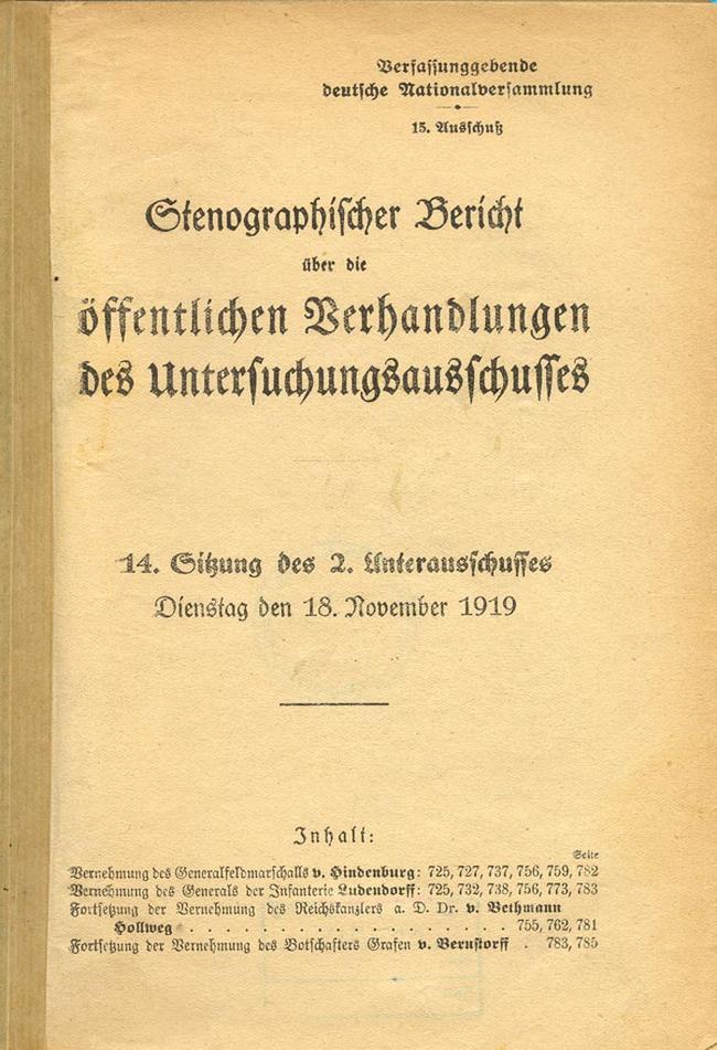 Einführung Erklärung Des Generalfeldmarschalls Von Hindenburg Vor