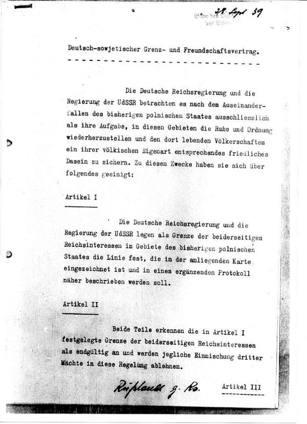 Zusammenfassung Deutsch Sowjetischer Grenz Und Freundschaftsvertrag