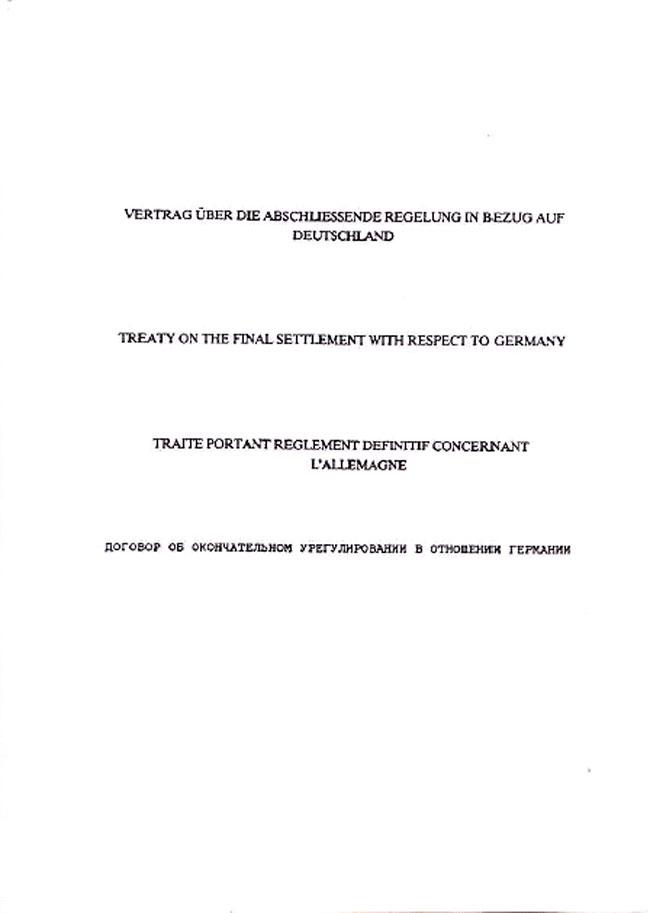 Zusammenfassung Vertrag über Die Abschließende Regelung In Bezug Auf