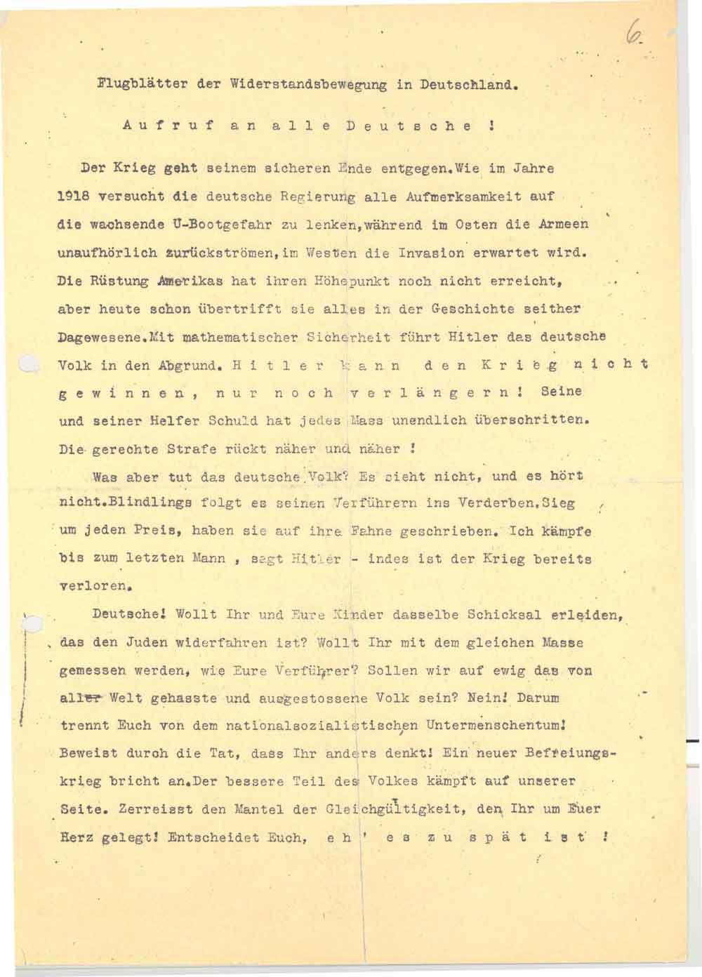 Zusammenfassung Aufruf an alle Deutsche! Flugblatt Nr. 5 der Weißen ...