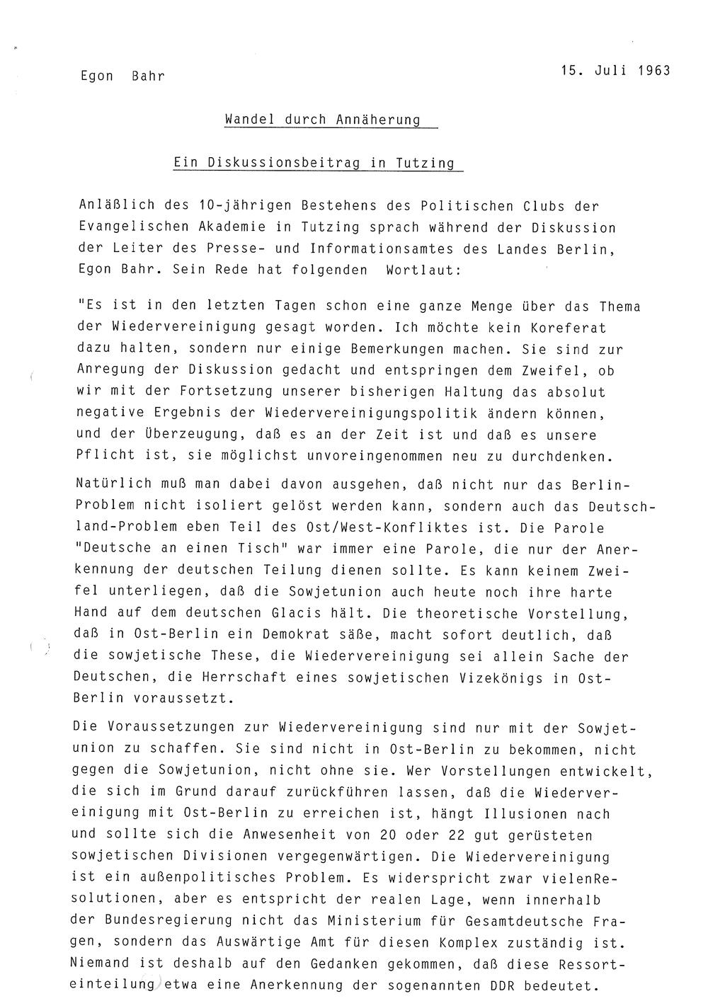 Zusammenfassung Egon Bahr Wandel Durch Annäherung Rede In Der