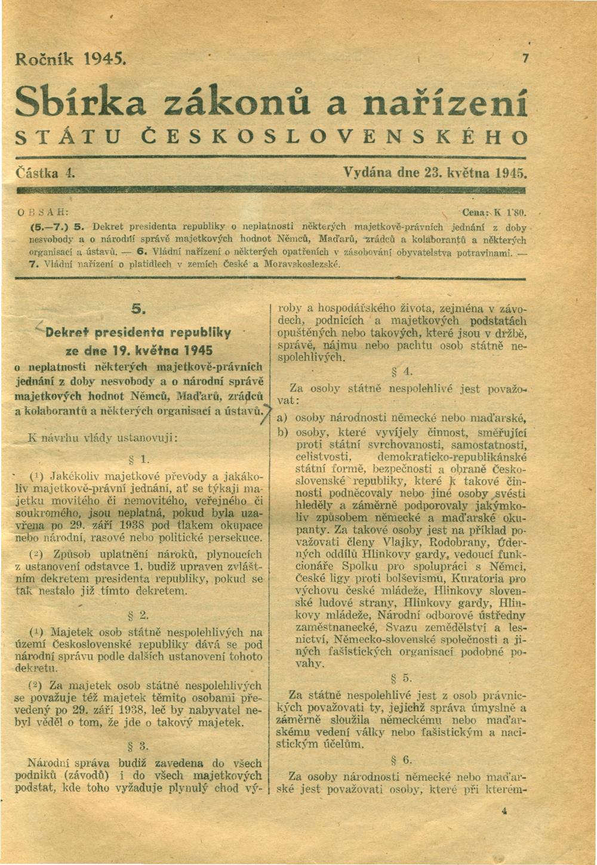 Zusammenfassung Dekret des Präsidenten der Republik Nr. 5/1945 und ...