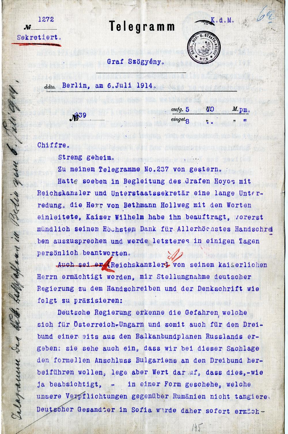 Einführung Telegramm des österreichisch-ungarischen Botschafters in ...