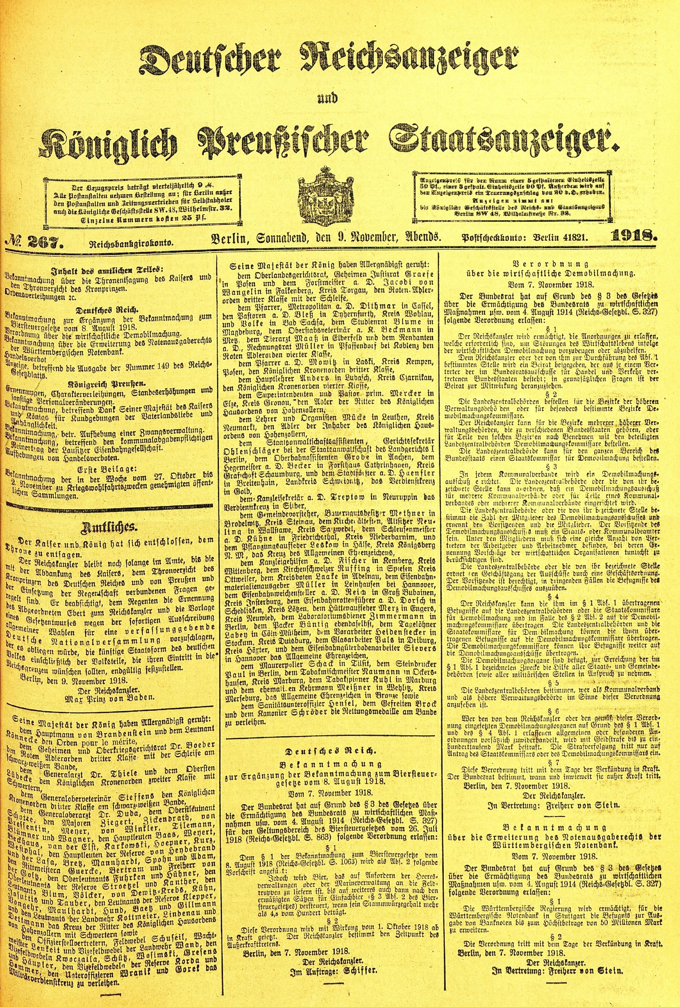 Zusammenfassung Prinz Max Von Baden Erlaß über Die Abdankung Kaiser