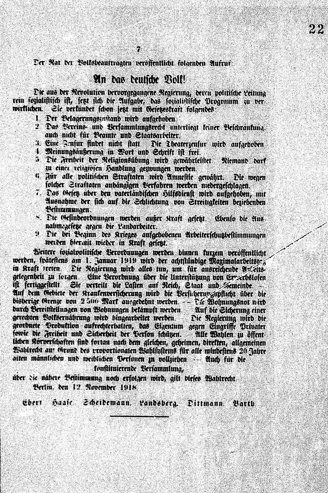 Zusammenfassung Rat Der Volksbeauftragten Aufruf An Das Deutsche