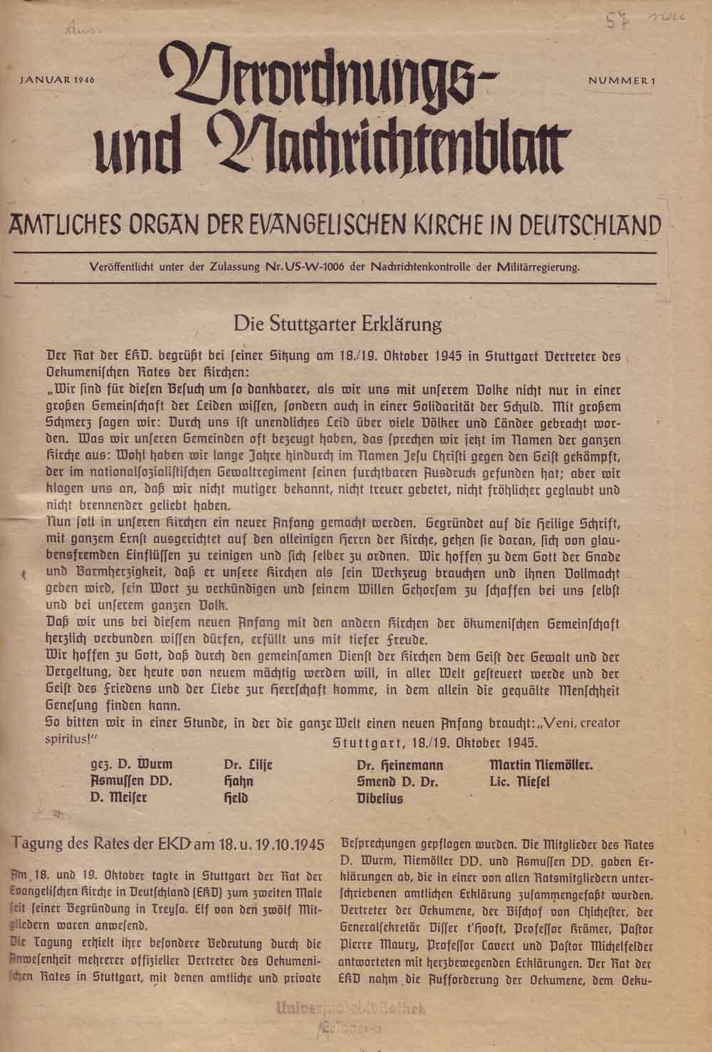 Zusammenfassung Das Stuttgarter Schuldbekenntnis Der Evangelischen
